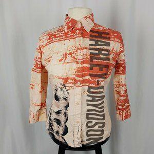 Harley Davidson Women's 3/4 Sleeve Button Top Sz S